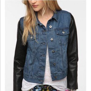 Urban Outfitters Denim Leather sleeve jacket NWOT